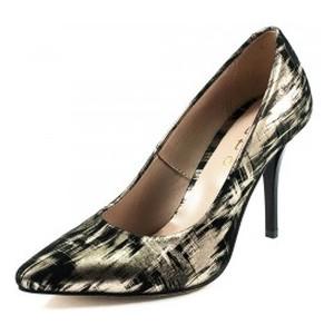 Туфли женские Tutto Shoes T3016 черно-золотая кожа