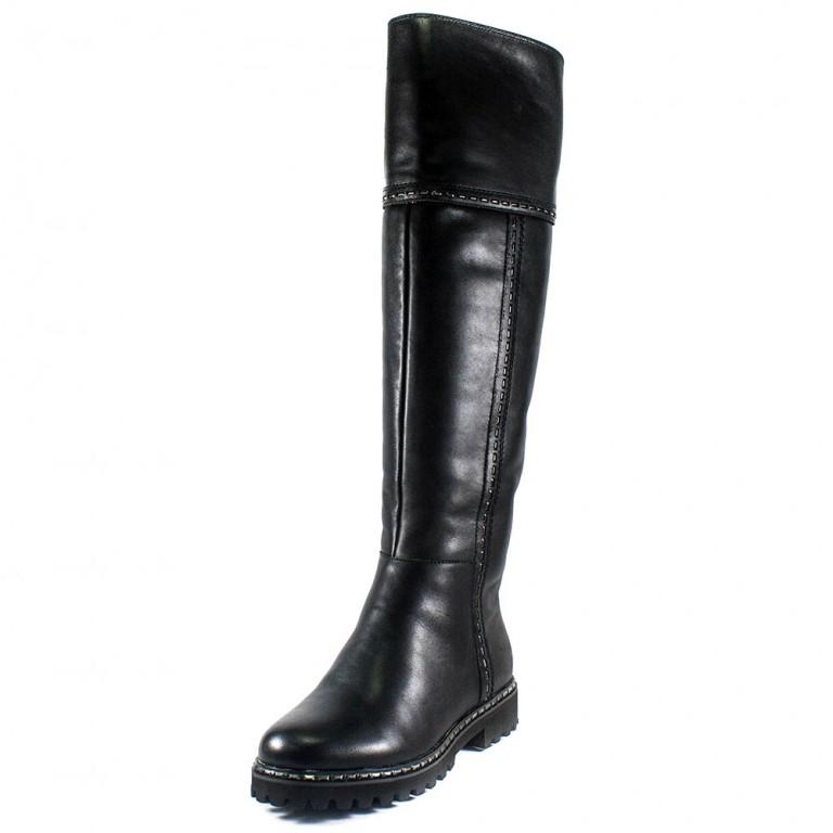 Сапоги зимние женские Lonza X997-1L черная кожа
