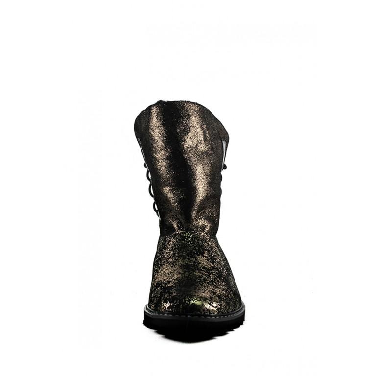 Угги женские MIDA 24606--528Н черно-золотые