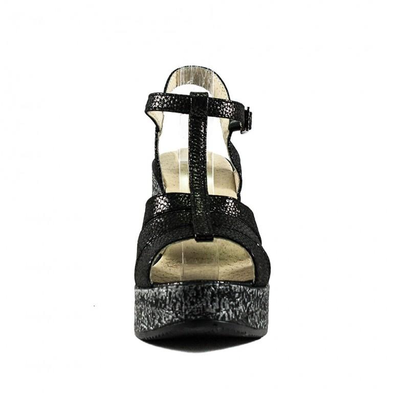 Босоножки женские Azatti 820 черно-серебрянные