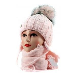1267Fila шапка-шарф розовая 48-50