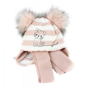 A858ST бежевая шапка-шарф 40-42