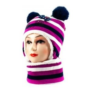 1239к панда шапка-снуд бело-розовая 48-50