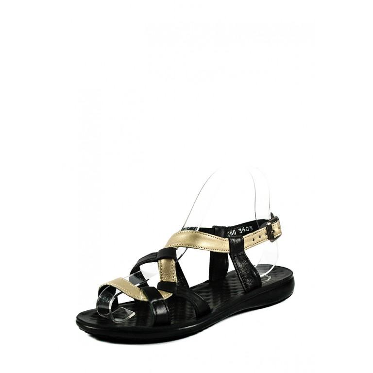 Босоножки женские TiBet 260-02-01 черно-золотые