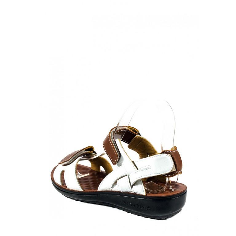 Сандалии женские TiBet 495-02-08 коричнево-белые