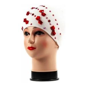 Бант-мини шапка бело-красная