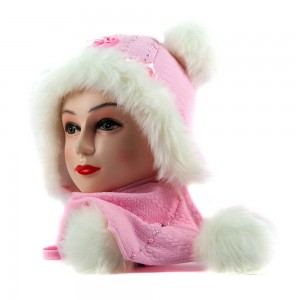 Жаккару шапка-шарф светло-розовый