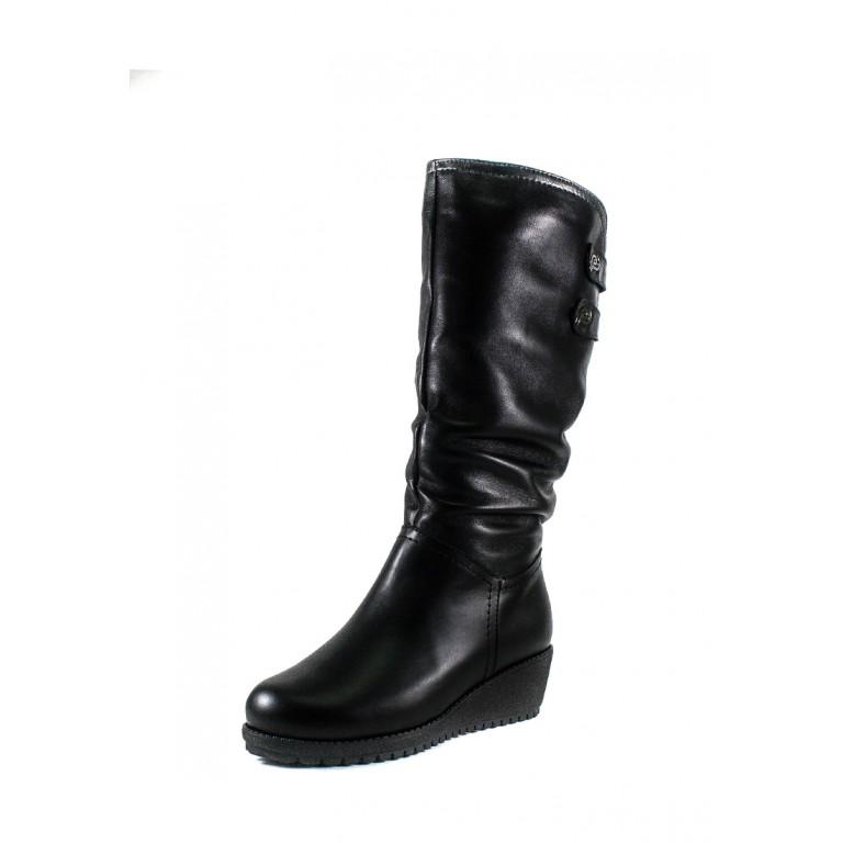 Сапоги зимние женские SND 41257-2Б черная кожа