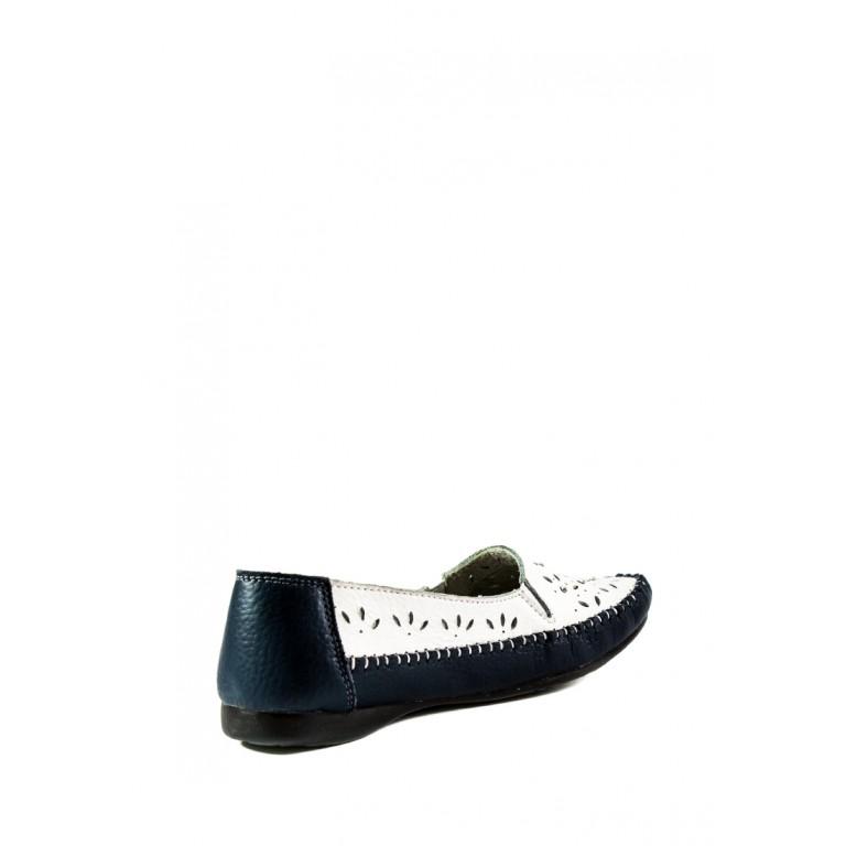 Мокасины женские Allshoes 63027 бело-синие
