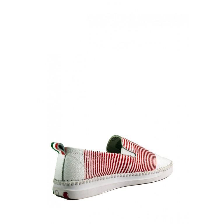 Мокасины женские Allshoes 87067 бело-красная кожа