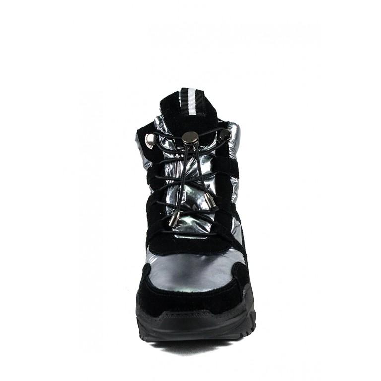 Ботинки зимние женские Lonza 1627-S707 черно-серебряные