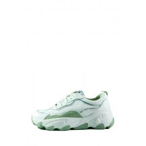 Кроссовки демисезон женские Lonza T012-15 бело-зеленые