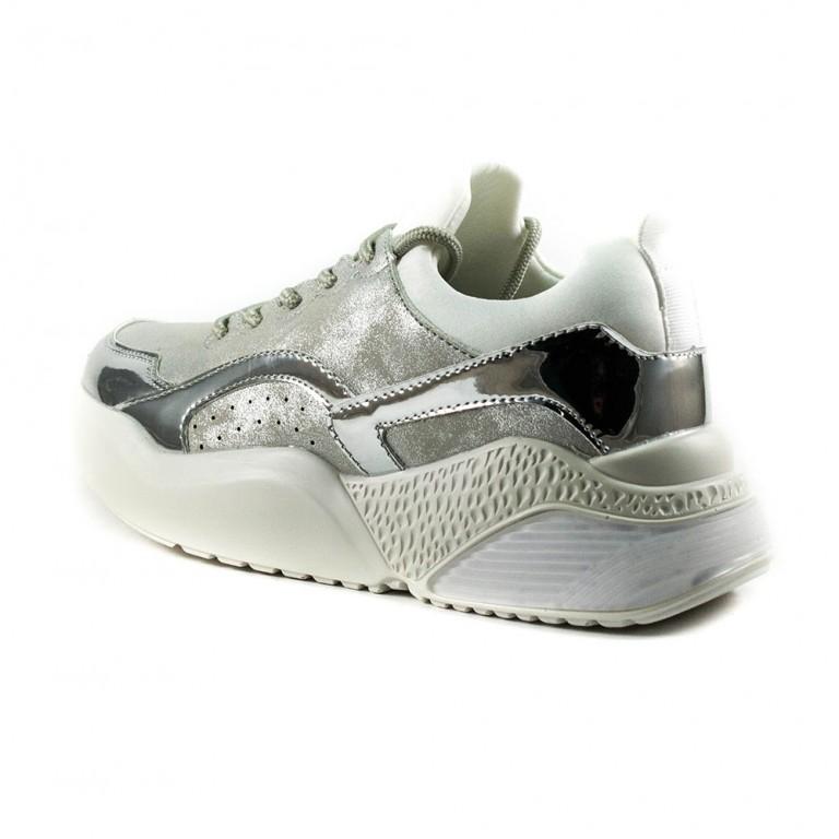 Кроссовки женские Keddo 897560-01-06 бело-серебряные
