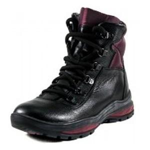 Ботинки зимние женские MIDA 24779-16Ш черно-бордовые