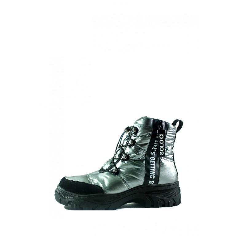 Ботинки зимние женские Lonza СФ 3951-N581 серебряные