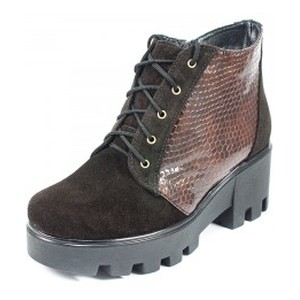 Ботинки демисез женск Vakardi V253D коричневая замша + лак