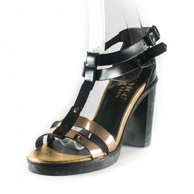 Босоножки женские Rovigo-Rifellini R866-Y-354 черно-золотые.