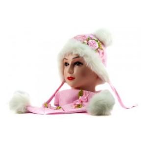 Жаккару-1 шапка-шарф светло-розовый