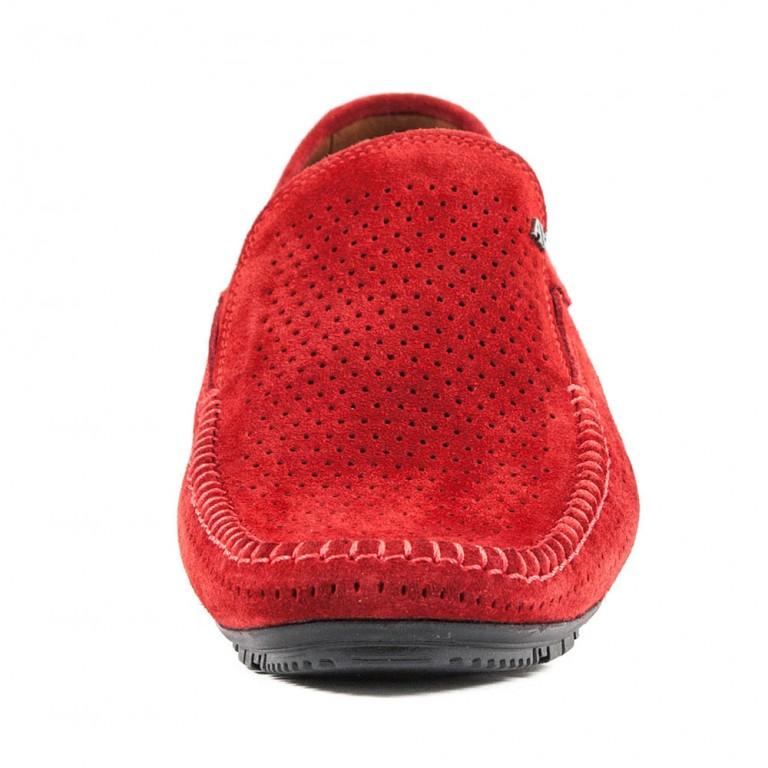 Мокасины мужские Alexandro AO18562 красная замша