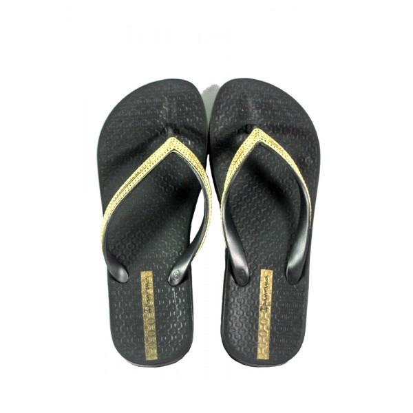 Вьетнамки женские Ipanema 82527-20780 черно-золотые