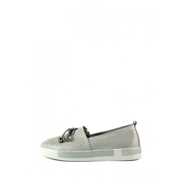 Мокасины женские Allshoes 18683-2K светло-серебряные