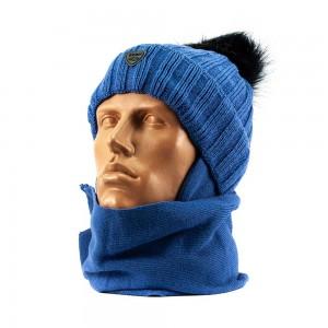 676Atlas шапка-шарф синий 48-50