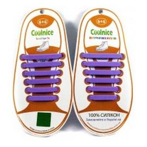 Аксессуары для обуви Coolnice  Силиконовые шнурки 6х6 фиолетовые.