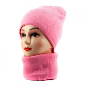 2147 шапка-снуд розовый
