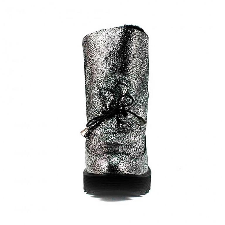 Угги женские MIDA 24667-594Ш серебряная замша