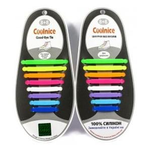 Аксессуары для обуви Coolnice Силиконовые шнурки 8х8 радуга