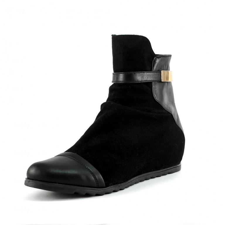 Ботинки демисезон женские SND SD182-МД-5 черная замша-кожа