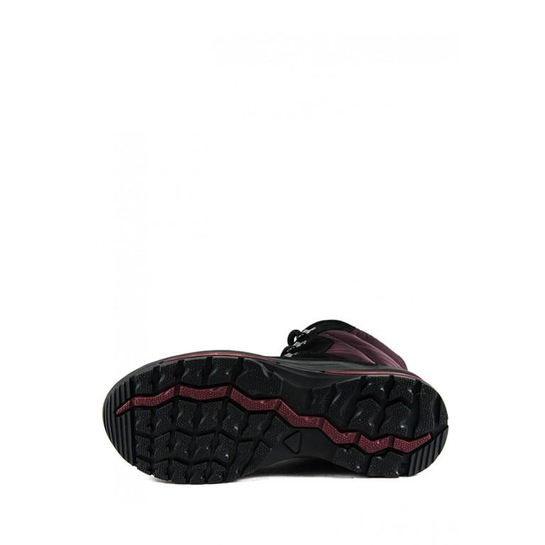Ботинки зимние женские MIDA 24779-9Ш черно-бордовые