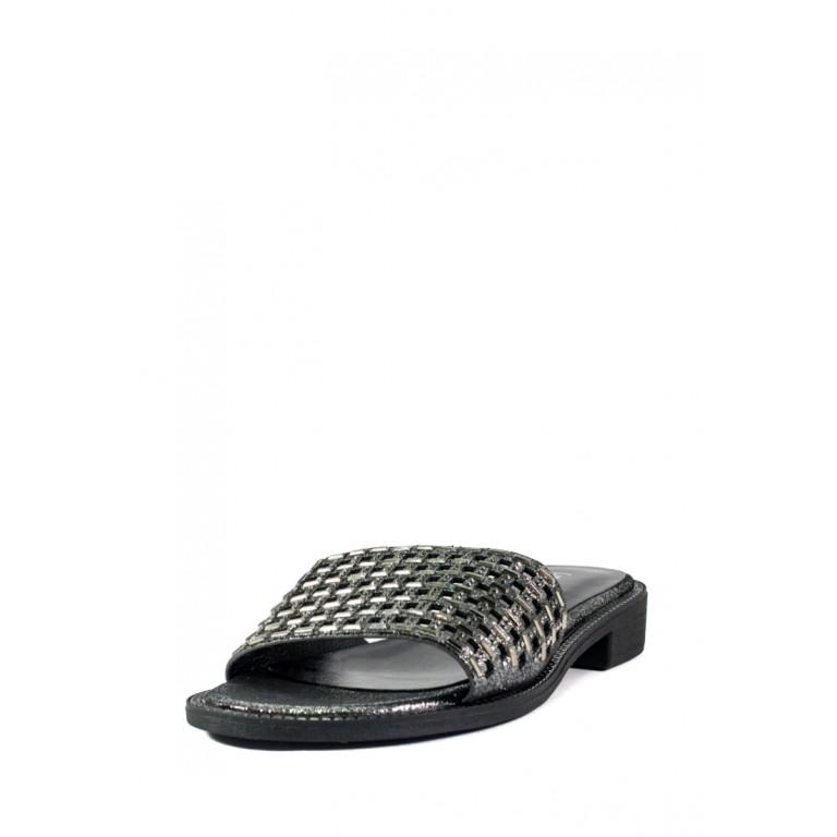 Шлепанцы женские LorisBottega СФ L-1528 черно-серебрянные