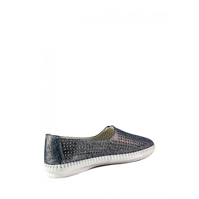 Мокасины женские Allshoes 2250-1 сине-серебряные