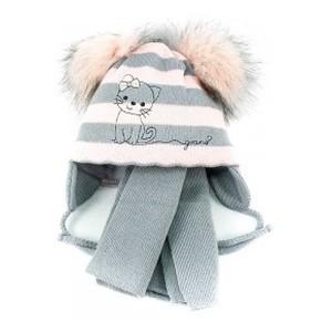 A585ST розово-серая шапка-шарф 40-42