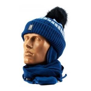 1661Dima-1 шапка-шарф синий 44-46