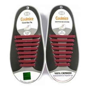 Аксессуары для обуви Coolnice Силиконовые шнурки 8х8 бордовый