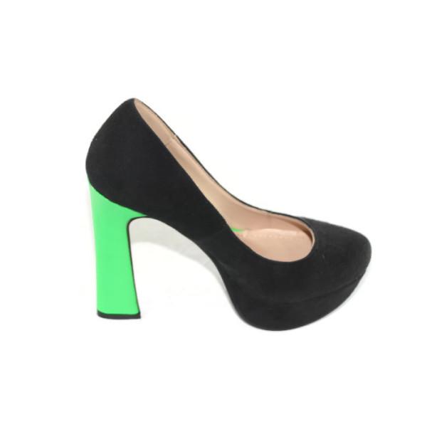 Туфли женские Q2-1225Т черно-салатовый