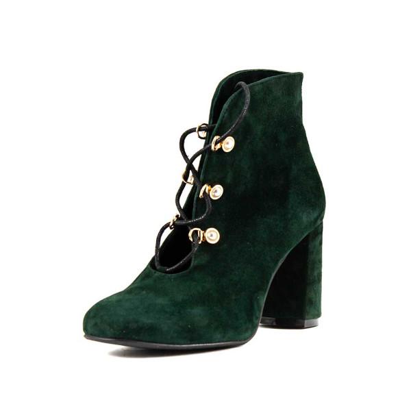 Ботинки демисез женск CRISMA CR1918 темно-зеленая замша