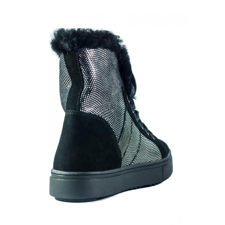Ботинки зимние женские MIDA 24738-53Н черно-серебряные