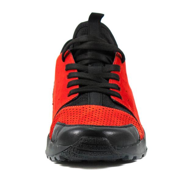 Кроссовки мужские MIDA 130039-75 красно-черный нубук-кожа