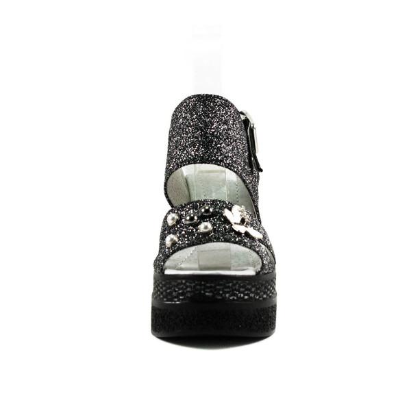 Босоножки женские Camelfo 886-2-1 черное серебро