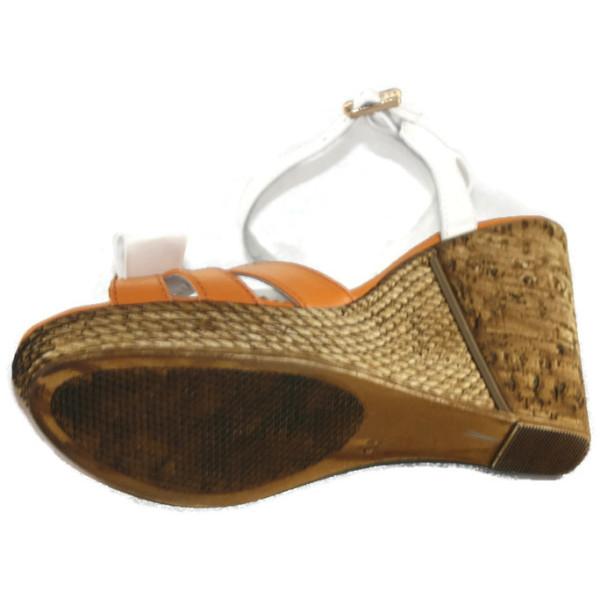 Босоножки женские VOG 7011/607 оранжево-белая кожа