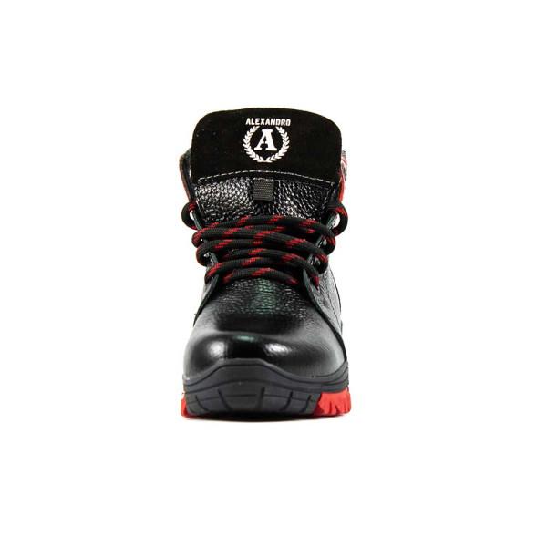 Ботинки зимние подросток Alexandro AO19100 черно-красная кожа